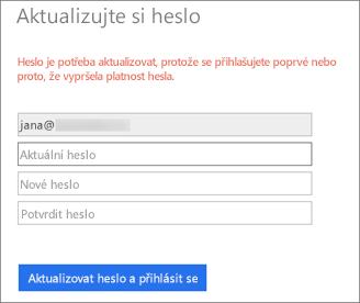 Office 365 vyzve uživatele k vytvoření nového hesla.