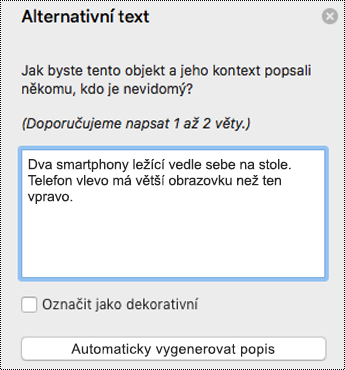 Alternativní text v PowerPointu pro Mac