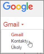 Pokud chcete importovat kontakty z Gmailu do Office 365, vyberte v Gmailu Gmail a potom Kontakty.