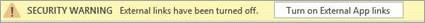 Pokud chcete v tomto souboru povolit propojení externích aplikací, vyberte tlačítko.