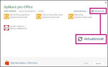 Tlačítko Aktualizovat v okně Aplikace pro Office