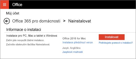 Druhá instalační obrazovka na stránce Moje účty