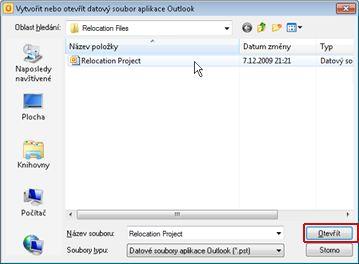 Dialogové okno Vytvořit nebo otevřít datový soubor aplikace Outlook