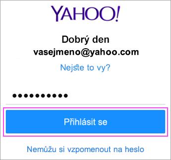Zadejte heslo pro Yahoo.