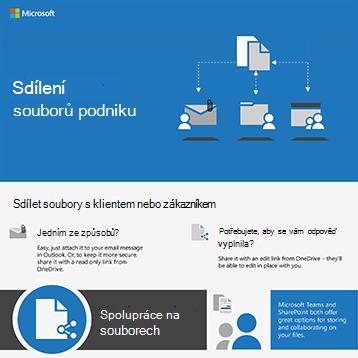 Obrázek dokumentu se šipkami na e-mail odeslaný jedné osobě, složka sdílená s jednou osobou a týmový web s několika lidmi