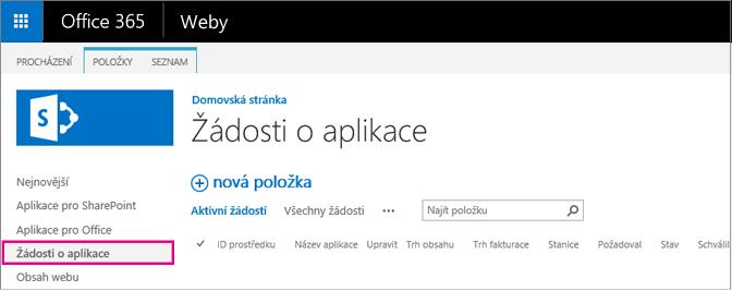 Snímek obrazovky s odkazem na žádost o aplikaci