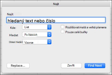 Vyhledání textu nebo čísel v sešitu nebo listu stisknutím kombinace kláves CTRL + F