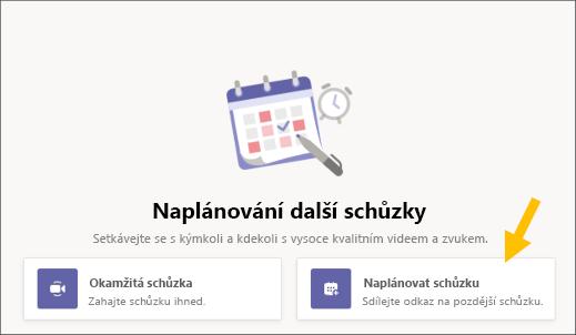 Vyberte tlačítko Naplánovat schůzku