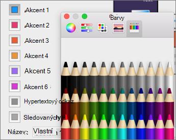 Kliknutí na barvu