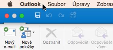 Pokud chcete zjistit, jakou verzi Outlooku máte, zvolte na řádku nabídek Outlook.