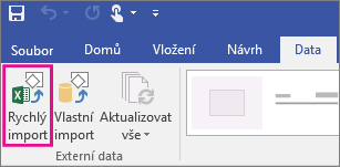 Tlačítko pro rychlý import dat
