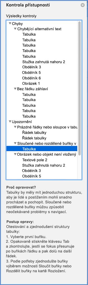 Snímek obrazovky s nabídkou Kontrola přístupnosti