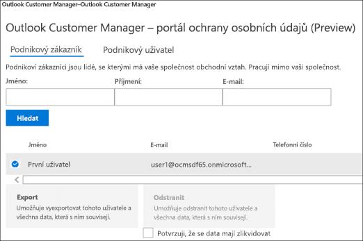 Snímek: Data o zákaznících Správce informací o zákaznících exportem Outlooku