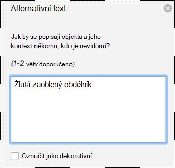 Podokno alternativní text pro obrazce v PowerPointu pro Mac v Office 365