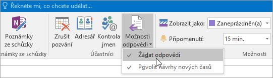 Snímek obrazovky s tlačítkem Žádat odpovědi v Outlooku 2016 pro Windows