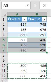 Vkládáním dat pod tabulku se tabulka rozšíří, aby mohla tato data zahrnout