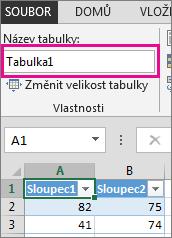 Přejmenování tabulky v poli Název tabulky