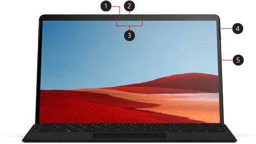 Obrázek zařízení Surface Pro X znázorňující umístění různých tlačítek