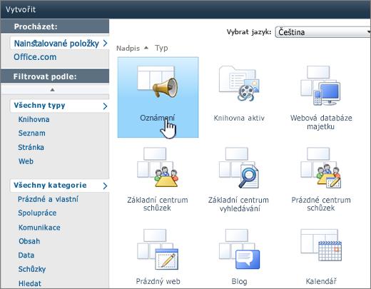 Stránka pro vytvoření seznamu nebo knihovny SharePointu 2010 se zvýrazněnými oznámeními