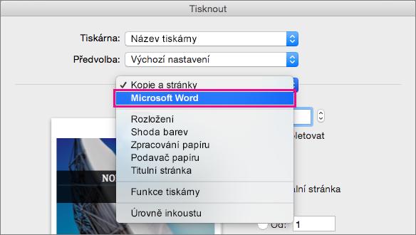 V dialogovém okně Tisk vyberte Microsoft Word konfigurujte další nastavení pro tisk.