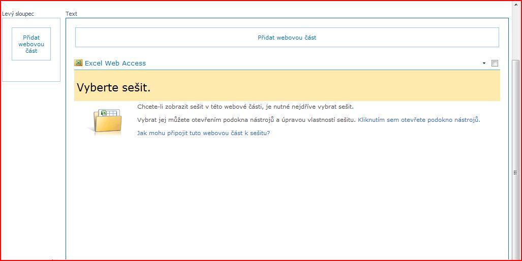 Webová část Excel Web Access zobrazující podokno Vyberte sešit