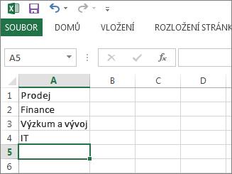 Vytvoření rozevíracího seznamu položek v jednom sloupci nebo řádku v Excelu