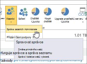 Tlačítka vlastníci SPO web správce se zvýrazněnou Správa správců.