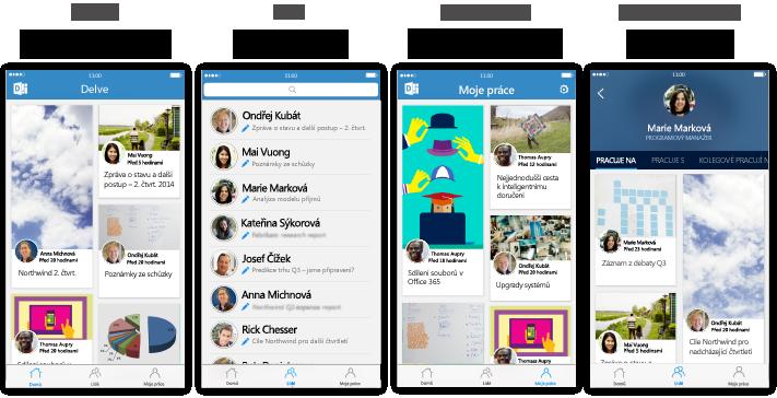 Čtyři obrazovky Delvu pro iPhone s popisným textem