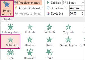 Přidání animačního efektu v PowerPointu