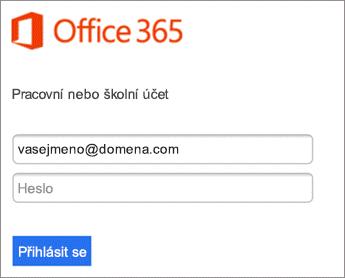 Zadejte heslo pro O365.