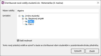Snímek obrazovky s postupem distribuce nových oddílů v doplňku Poznámkové bloky pro školy