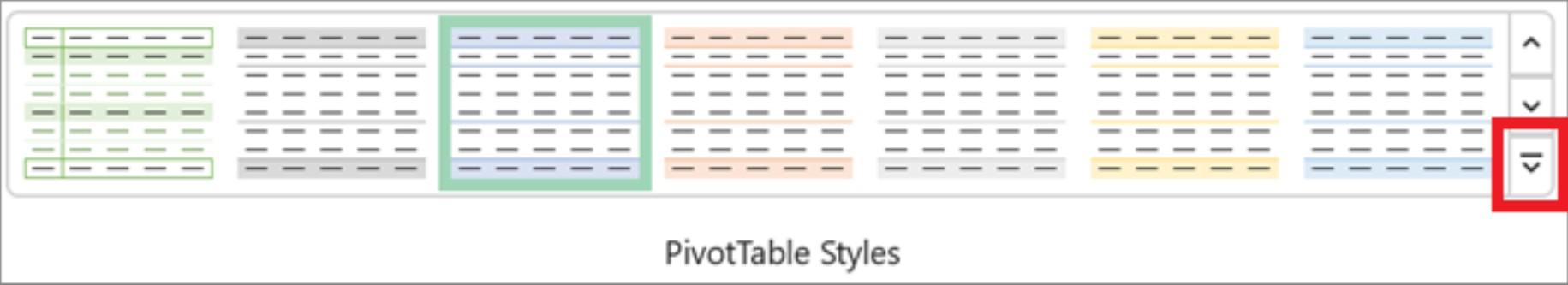 Vzhled pásu karet Excelu