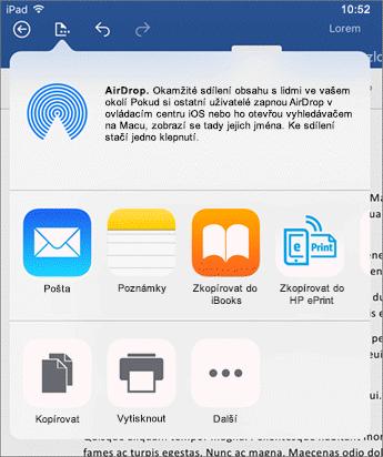 Dialogové okno Otevřít v jiné aplikaci umožňuje poslat dokument do jiné aplikace k odeslání poštou, tisku nebo sdílení.