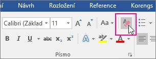 Zvýrazněná ikona Vymazat veškeré formátování na kartě Domů