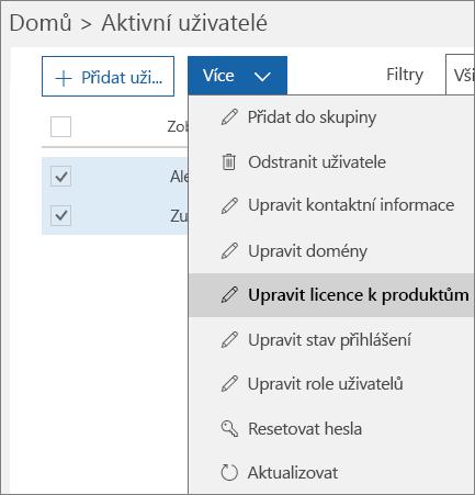 Odebrání všech uživatelských licencí pomocí Centra pro správu Office 365