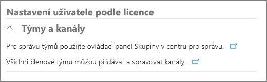 Uživatelská nastavení podle licence