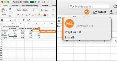 List obsahující buňku s oranžovým ohraničením na levé straně a bublina s iniciály uživatele a souřadnicemi zvýrazněné buňky (jejíž obsah uživatel upravuje) na pravé straně