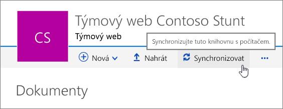Záhlaví knihovny dokumentů s vybraným tlačítkem Synchronizovat