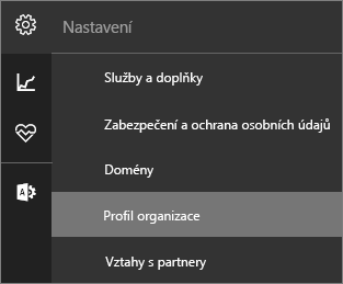 Snímek obrazovky s nabídkou nastavení s vybranou profilu organizace
