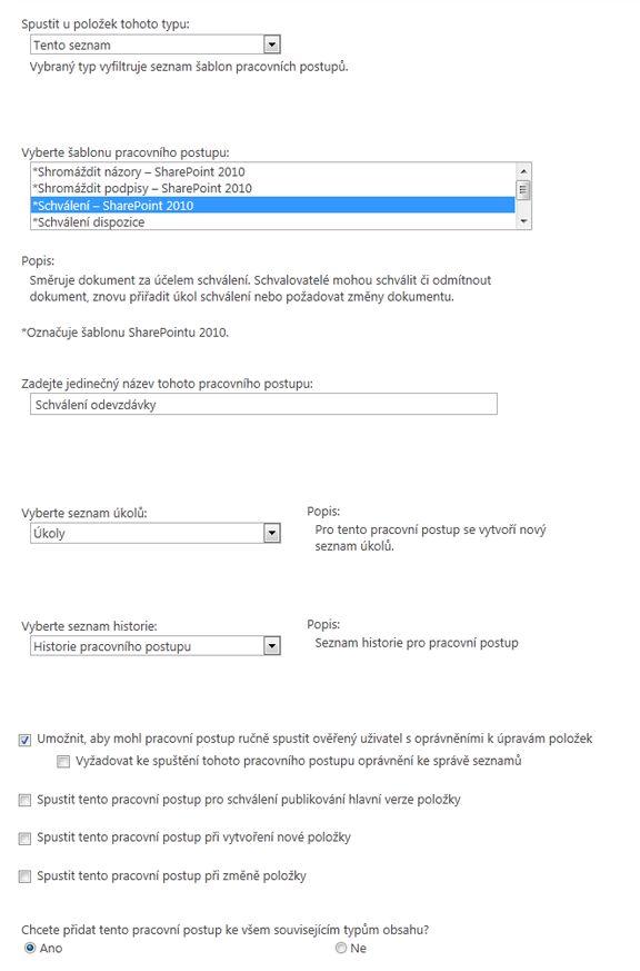 První inicializační formulář
