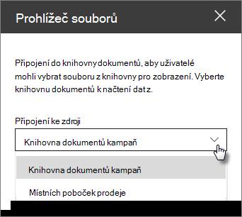 Podokno vlastností prohlížeč souborů s rozevíracím seznamem připojit se ke zdroji