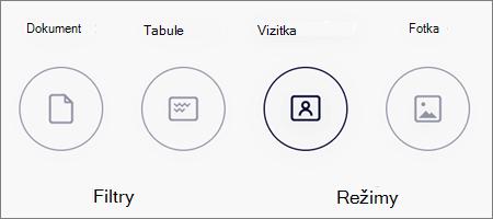 Možnosti režimu skenování obrázků na OneDrivu pro iOS