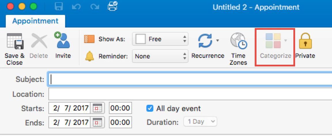 Vyšedlá ikona pro kategorizaci události kalendáře Outlooku 2016 pro Mac verze 15.30
