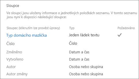 Seznam oddíl sloupce v nastavení seznamu