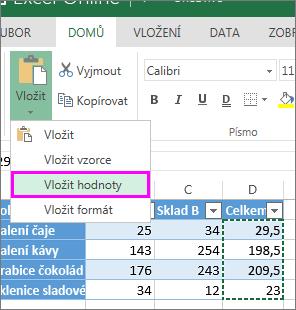 Příkaz pro vložení jenom hodnot zobrazený po kliknutí na Vložit