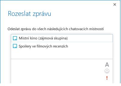 Snímek obrazovky horní části dialogového okna Rozeslat zprávu