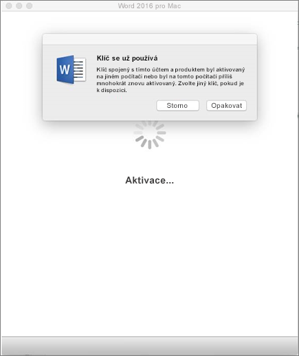 """Zpráva """"klíč se již používá"""" při aktivaci Office 2016 for Mac"""