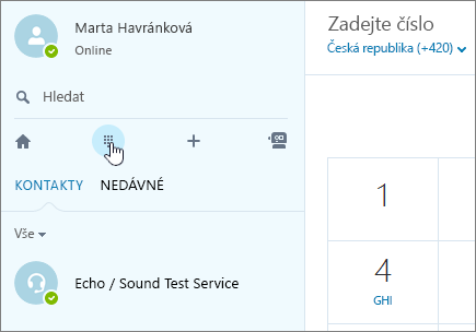 Snímek obrazovky, kde je vidět, kde se dá uskutečnit volání přes Skype