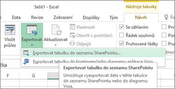 Export do SharePoint odkaz v zvýrazněnou možností aplikace Excel
