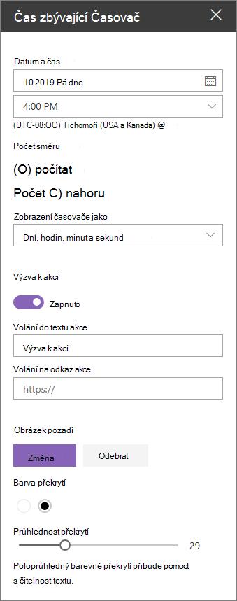 Panel vlastností webové části odpočítávání